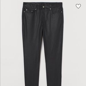 H&M Men's Black Coated Skinny Jeans